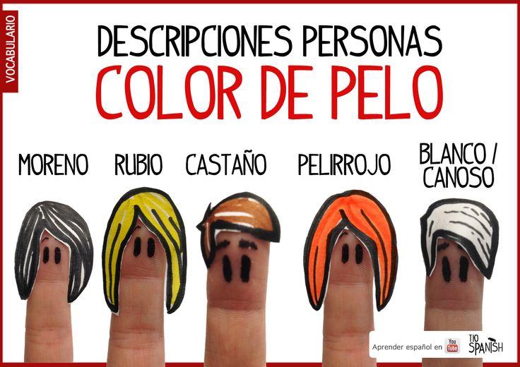 Describir personas en español por color de pelo. Vocabulario español intermedio