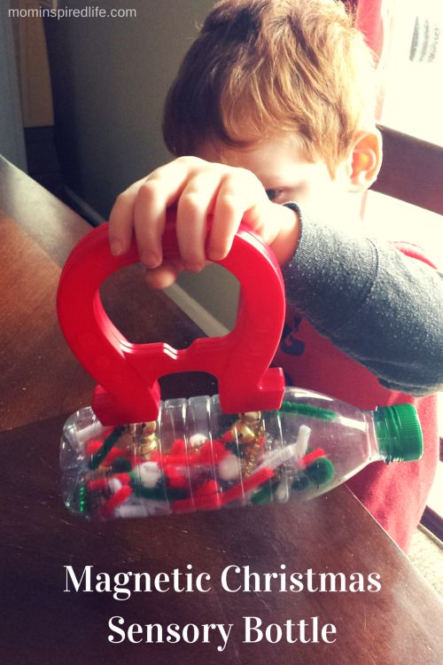 Magnetic Christmas Science and Sensory Bottle. Explore magnets with this colorful sensory bottle that's fun for all ages!