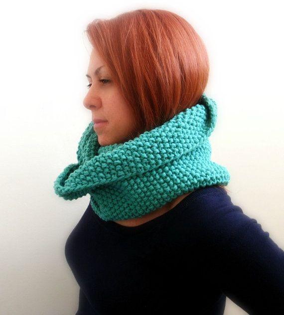 Infinity knitted scarf handmade in jade mint green very by Kikoa, $55.00