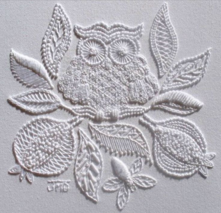 """This design is the work of textile and embroidery artist Janet M. McDonald. This design features over 19 traditional Mountmellick embroidery stitches.  This pattern is titled """"Home to Roost"""" and can be found on Janet's website at http://www.jmddesigns.co.nz/store/p46/Home_to_Roost_-_Mountmellick.html"""