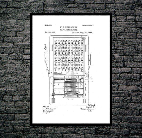 First calculator patent first calculator poster first calculator print first calculator art