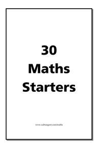 30 maths starter activities suitable for different levels