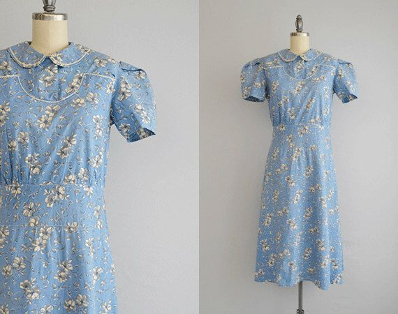 Vintage 1930s Dress / 30s Floral Print Cotton Housedress with Peter Pan Collar and Rick Rack Trim by zestvintage on Etsy https://www.etsy.com/se-en/listing/490652258/vintage-1930s-dress-30s-floral-print