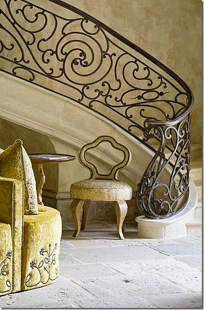 The wall finish along the staircase. Chateau located Lake Norman in Charlotte, NC. Interior Design by Barry Dixon