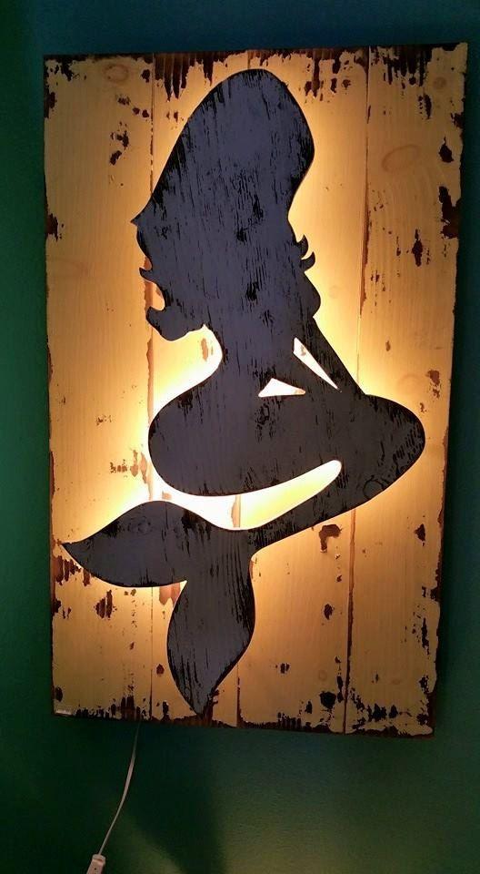 Backlit Wood Mermaid Wall Art by TheSaltySweetMermaid on Etsy