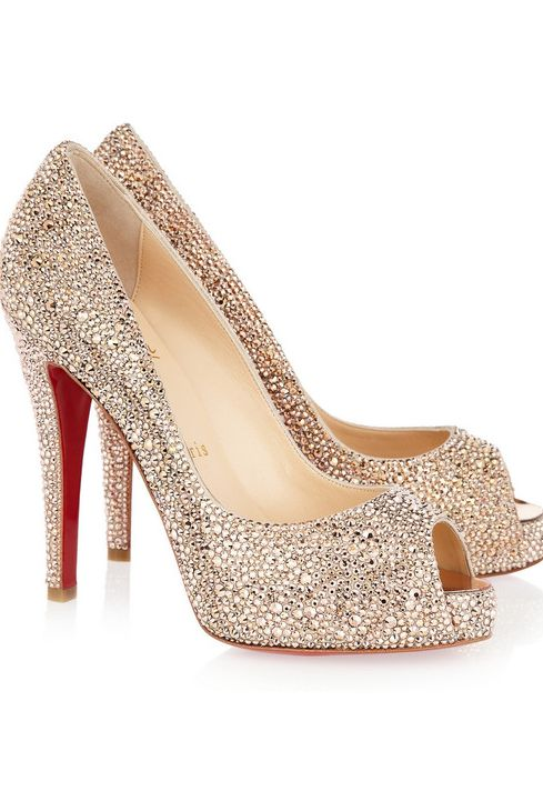 Christian Louboutin Swarovsky crystal suede pumps - Wedding shoes