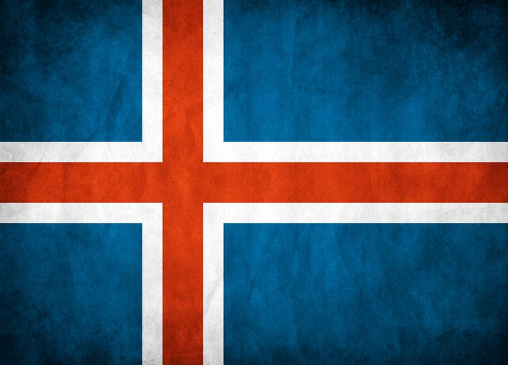 Iceland's first national flag was a white cross on a deep blue background. It was first shown in parade in 1897. The modern flag dates from 1915, when a red cross was inserted into the white cross of the original flag to represent Christianity. It was adopted and became the national flag when Iceland gained independence from Denmark in 1918.  The colors stand for three of the island's primary features: red for the volcanoes , white for the ice and snow, and blue for the mountains.