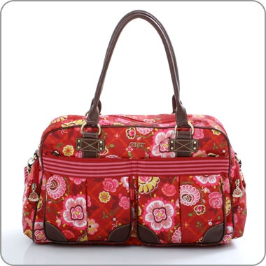 "OILILY Bag Tasche - ""Flower Check"" - Carry All red rot"