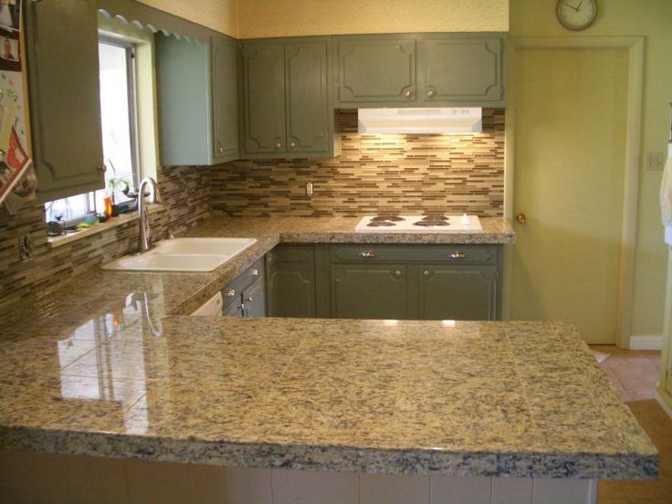 Countertops And Backsplashes | Kitchen Granite Tile Countertop And Glass  Backsplash Finished