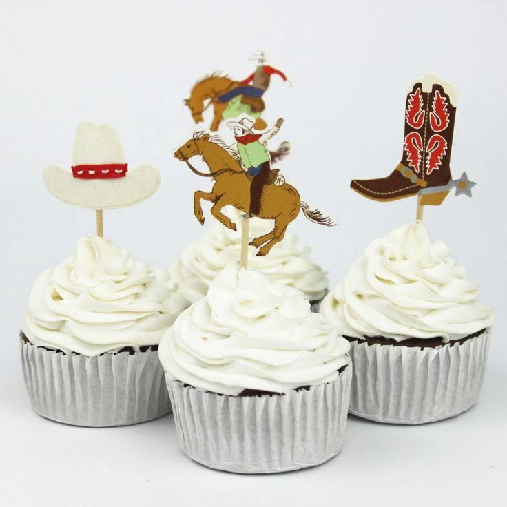 72 pcs Cowboys thème articles de fête bande dessinée hauts de forme de petit gâteau Pick enfant garçon fête d'anniversaire décorations