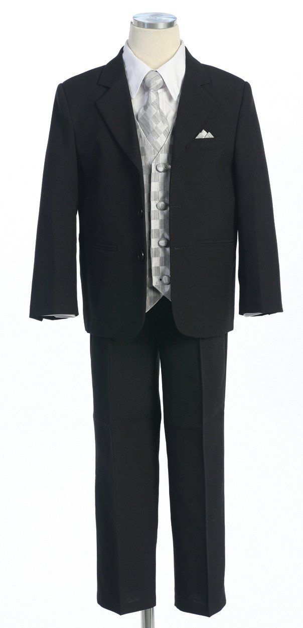 Boys Black Suits with Silver Vest, Dress Shirt, Tie