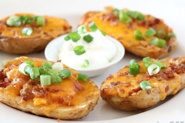 Cheesy potato skins recipe ( more on http://www.goodiesrecipes.com/recipe/212/cheesy-potato-skins-recipe.html) | INGREDIENTS: 3 baking potatoes, scored intoquarters 1 teaspoon vegetable oil 55g/2oz lean smoked backbacon, roughly chopped 175g/6oz brown cap mushrooms,roughly chopped 110g/4oz cream cheese, softened2 tablespoons milk 112 teaspoons wholegrain mustard 50g/2oz Cheddar cheese,grated | HOW TO COOK: Cheesy potato skins RECIPE:  Preheat the oven to 210C/410F/Gas mark 6. Put these tasty…