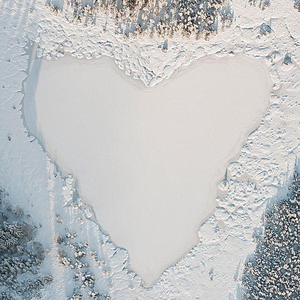 Winter heart [ Winter Aerials by Bernhard Lang, via Behance ] #heart #photography