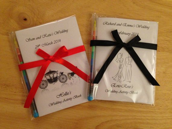 Personalised Childrens Wedding Activity Book / Pack - Ideal Gift or Favour Choose Horse & Carriage,Butterflies,Couple,Vintage Birdcage