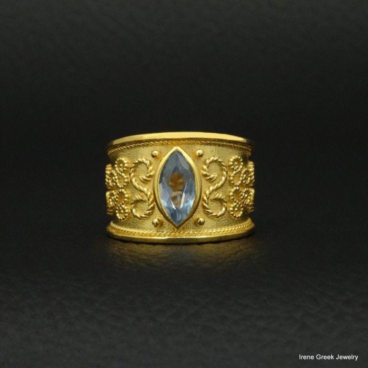 BIG RARE BLUE TOPAZ CZ BYZANTINE 925 STERLING SILVER 22K GOLD PLATED GRREK RING #IreneGreekJewelry #B