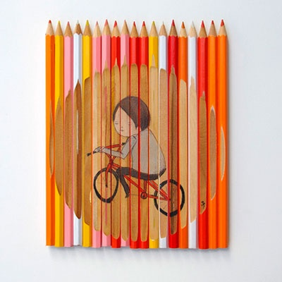 Art by Ghostpatrol - such a nifty canvas idea! I can imagine it would have been difficult to draw each snippet of the illustration on the individual pencils.