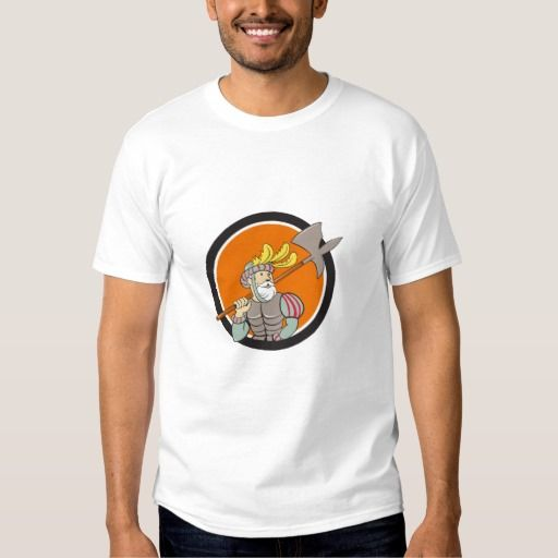 Spanish Conquistador Ax Sword Circle Cartoon T-shirt. Illustration of a spanish conquistador holding ax sword lance on shoulder looking to the side viewed from front set inside circle done in cartoon style. #Illustration #SpanishConquistadorAxSword