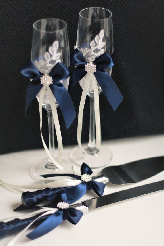Navy Cake Server Set / Navy blue Wedding Cake Cutting Set /