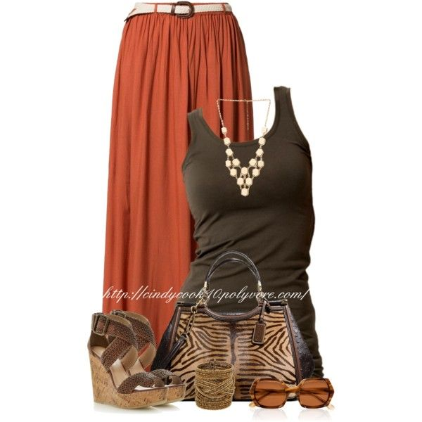 Belted Maxi Skirt (OUTFIT ONLY!), created by cindycook10 on Polyvore