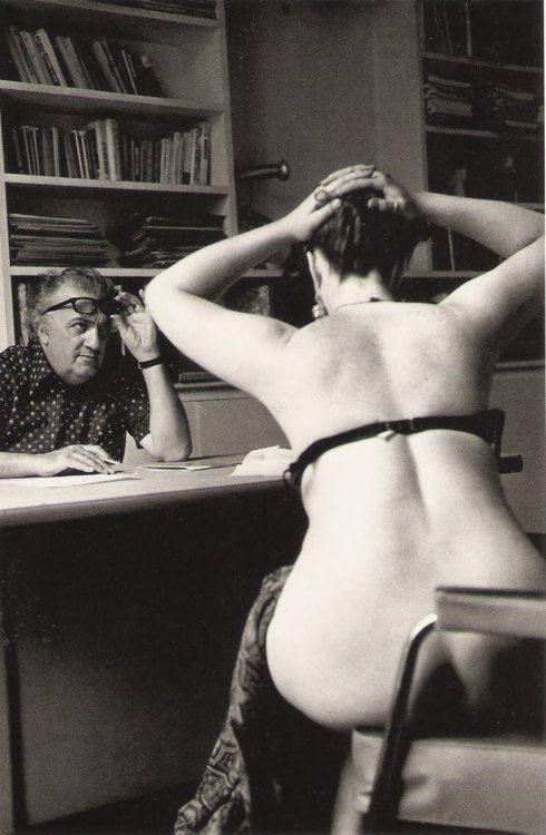 Federico Fellini casts a film, Paris, 1975.