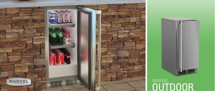 """MO15RAS2LS in by Marvel in Santa Monica, CA - 15"""" Outdoor Refrigerator - Marvel Refrigeration - Solid Stainless Steel Door with Lock - Left Hinge"""