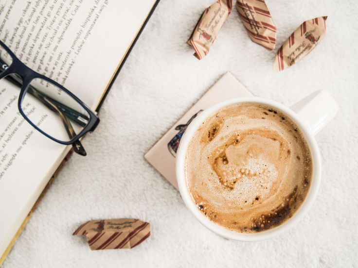 #book #cappuccino #coffee #cup #foam #glasses #sweets