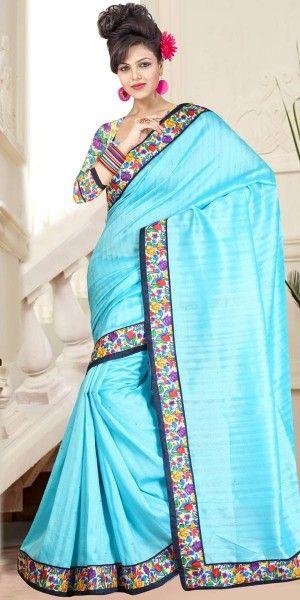 Charming Blue Bhagalpuri Print Saree With Blouse.