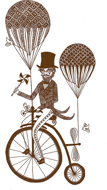 penny farthing flying machine by katie ruby illustration