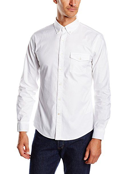Dockers Stretch Oxford - Chemise casual - coupe droite - Manches longues - Homme - Blanc (Oxford/White) - Large (Taille fabricant: Large)