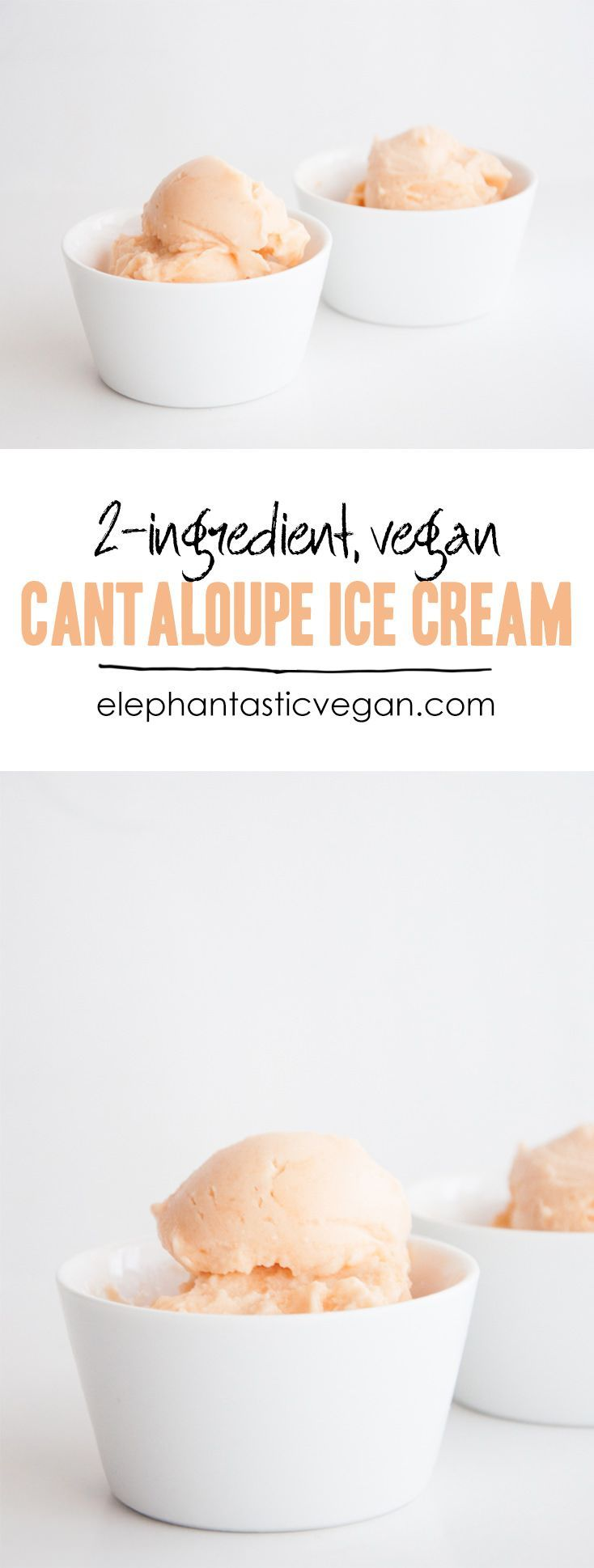 Vegan 2-Ingredient Cantaloupe Ice Cream http://ElephantasticVegan.com