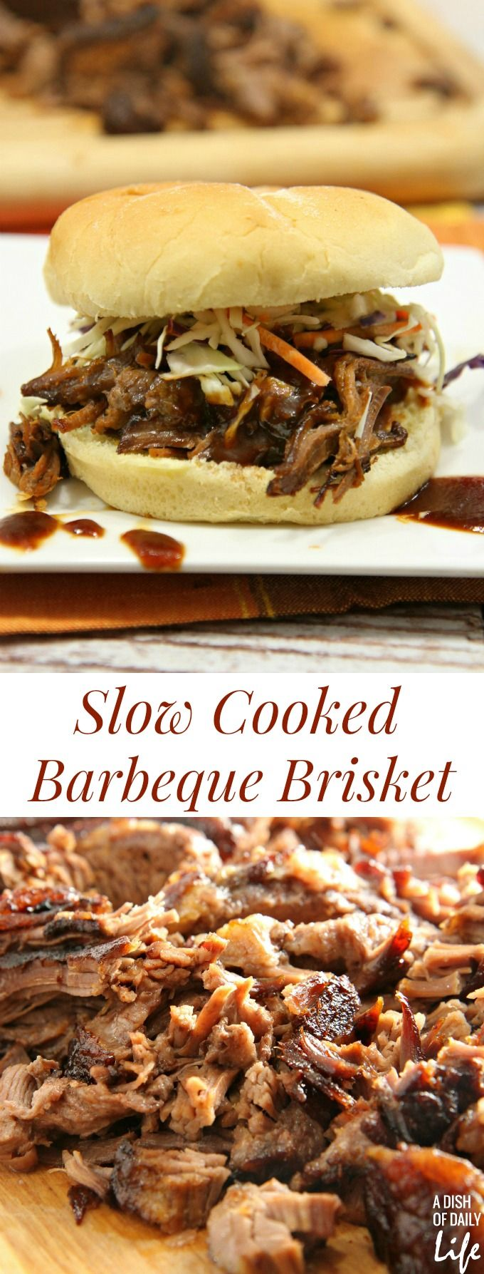 This mouthwatering Slow Cooked Barbeque Brisket recipe is a new family favorite. 10 minutes of prep time and just pop it in the oven to slow roast to perfection! Perfect easy weeknight meal or game day food! #TriplePFeature