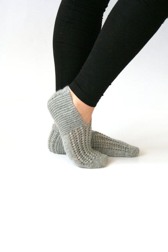 Handknitted Wool Grey Women Slippers Handmade slippers by aykelila, $28.00