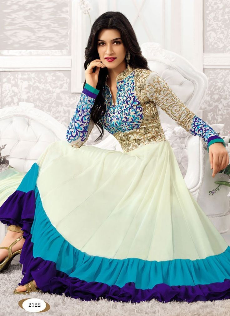StyleFunia White And Blue Designer Floor Length Anarkali Suit
