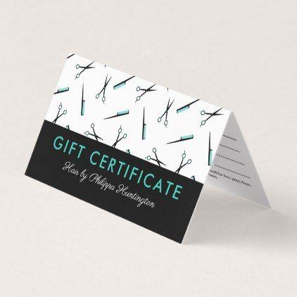 Scissors & Combs Hair Salon Gift Certificate - pattern sample design template diy cyo customize