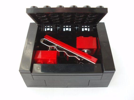Fathers Day Gift  - Cufflinks & Tie Slide Set Includes Gift Box. - Handmade using LEGO(r) Bricks - Groomsmen Cufflinks, Fathers day present