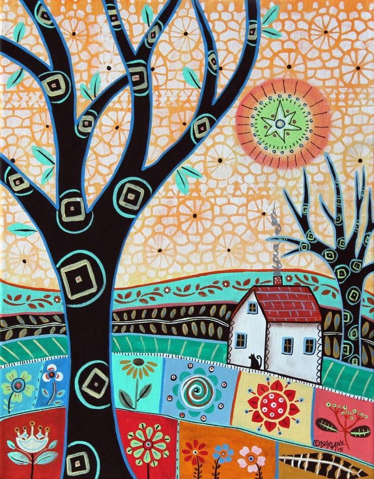 Chirpy Landscape 11x14 inch ORIG CANVAS PAINTING Folk Art ABSTRACT Karla Gerard ..NEW painting for sale, beautiful, colorful...click picture or link.... #FolkArtAbstractPrimitive