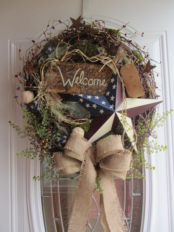 Patriotic Wreath 4th of July Wreath by DoorWreathsByDesign, $69.95 Plus
