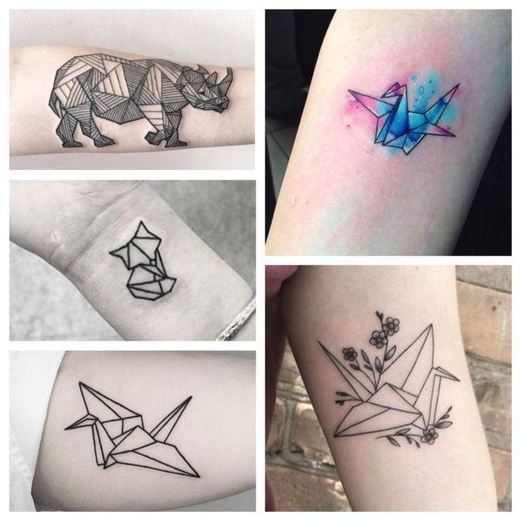 tatuajes de origami grullas