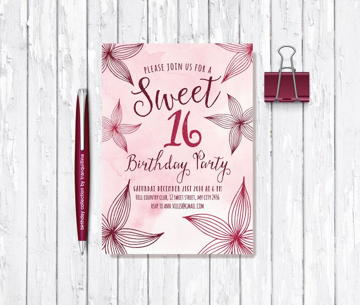 #Floral #Birthday Invitation #Printable, #Watercolor and #Glitter. #Tranquillina #Croatia From £9.00