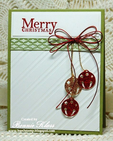 Stamping with Klass: Five Favorite Christmas Cards of 2014 ... jingle bells die cut from glitter paper ... bow of shiny string with rulti-loops ... embossing folder background featuring diagonal lines ...
