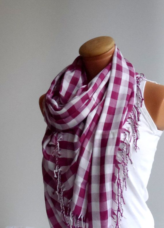 Authentic unisex scarf Burgundy & White color scarf plaid by Ellde