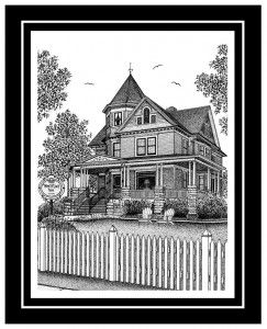 """""""White Lace Inn"""" located in Sturgeon Bay, Wisconsin. To many of you, your home is your castle. What a wonderful personal gift for yourself, an original piece of artwork of your home or business. For your business, whether you are in banking, real estate, inns and the hotel industry, etc., there are many advantages to have an original piece of artwork. Either your home or business, your original artwork is drawn with elegance and fine detail."""
