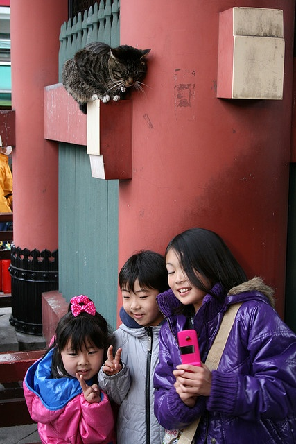 Kids having their photo taken at Senso-ji - Tokyo - Kids having their photo taken at the entrance gate, Kaminarimon (Thunder Gate), of Senso-ji (Senso Temple), in Asakusa.    The cat is paying attention!