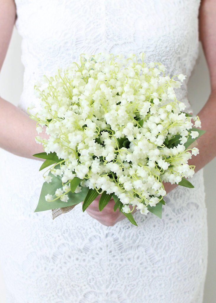"""Faux Lily of the Valley Bouquet in White<br>12"""" Tall"""