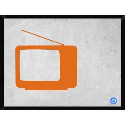 "Naxart 'Orange Tv Vintage' Framed Graphic Art Print on Canvas Size: 32"" H x 42"" W x 1.5"" D"
