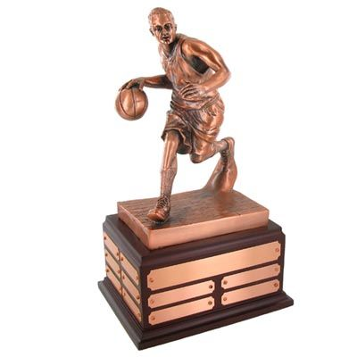 "13 1/2""electroplated antique bronze  basketball perpetual trophy"