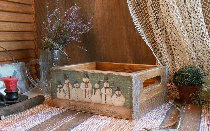 """Купить Ящик для мандарин """"Весёлого Рождества"""" - голубой, короб для хранения, ящик деревянный, ящик из дерева"""
