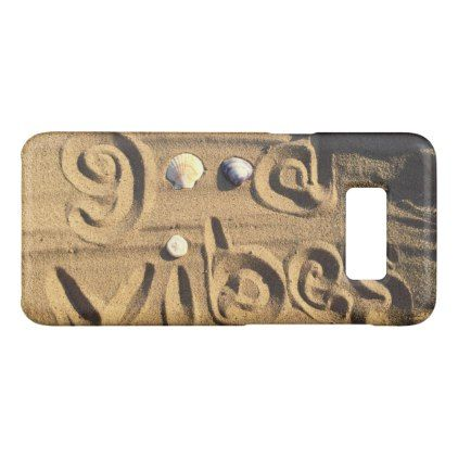 Fun Good Vibes Quote Drawn In Beach Sand Photo Case-Mate Samsung Galaxy S8 Case - quote pun meme quotes diy custom