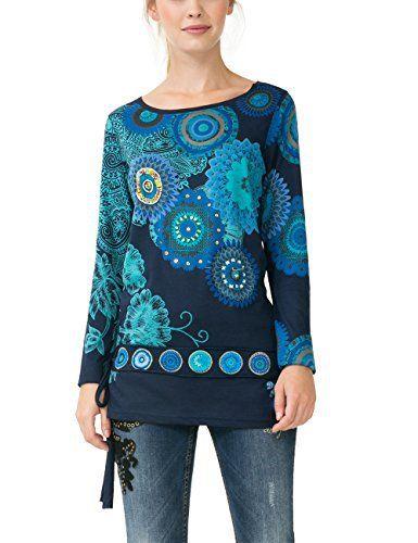 Desigual TS_Calima, T-Shirt à Manches Longues Femme, Bleu (Navy 5000), 36 (Taille Fabricant: M): Tweet