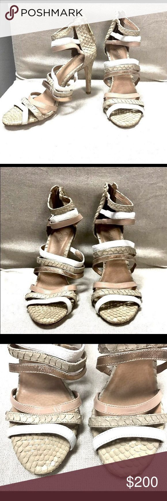 """Joie metallic strappy heels Saks Fifth Ave Joie metallic strappy heels Saks Fifth Ave Size 7 Textured scale leather Zip-up closure with 3.75"""" heel height Joie Shoes Heels"""